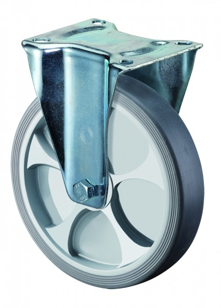 Transportrollen L410.B44 als Bockrolle Reifen thermoplastisch grau Radkörper Kunststoff Rollenlager BS Rollen