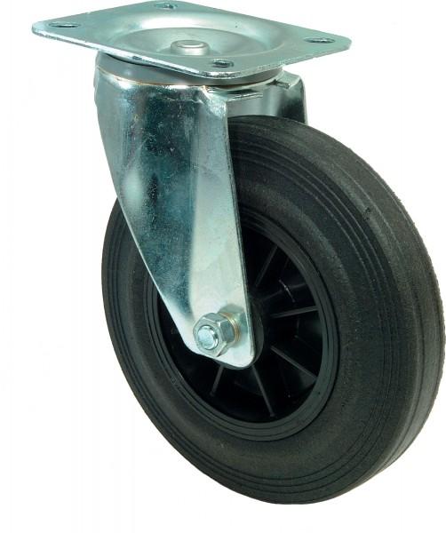 Transportrolle L400.B45 Lenkrolle Lauffläche Gummi schwarz Radkörper Kunststoff Rollenlager Plattenbefestigung
