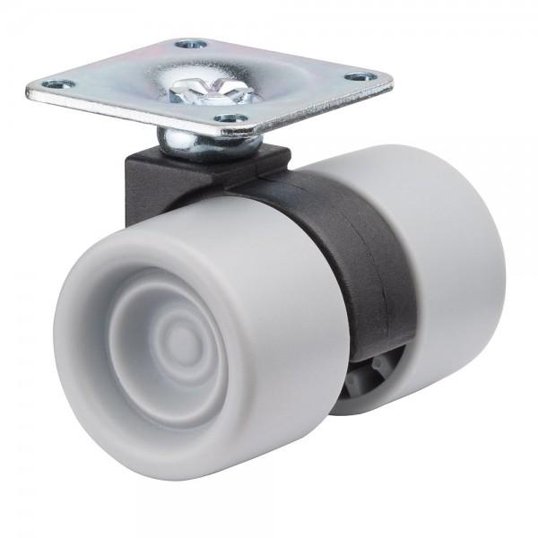Möbelrolle Kunststoff Doppelrolle Grau F392 Plattenbefestigung