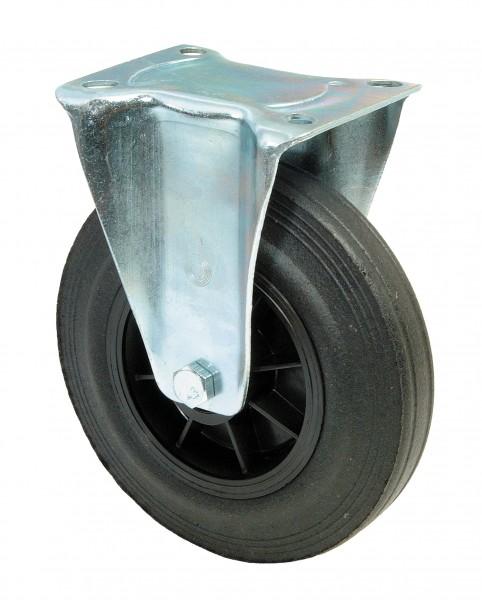 Transportrolle L410.B45 Bockrolle Lauffläche Gummi schwarz Radkörper Kunststoff Rollenlager Plattenbefestigung
