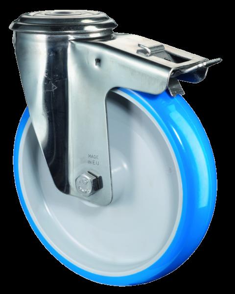 Edelstahl Transportrolle H121.B32 Lenkrolle Totalfeststeller Lauffläche Polyurethan blau Radkörper Kunststoff Gleitlager Rückenloch