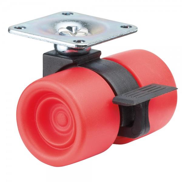Möbelrolle Kunststoff Doppelrolle Rot F398 Plattenbefestigung Bremse