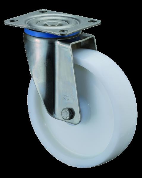 Edelstahl Schwerlastrolle HS100.B14 Lenkrolle Lauffläche und Radkörper Kunststoff Edelstahl-Rollenlager Plattenbefestigung Tragfähigkeit 300 - 700 kg BS Rollen