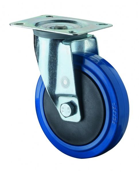 Transportrolle Lenkrolle Blue Wheel B62 Blaues Elastikgummirad Kunststofffelge Kugellager