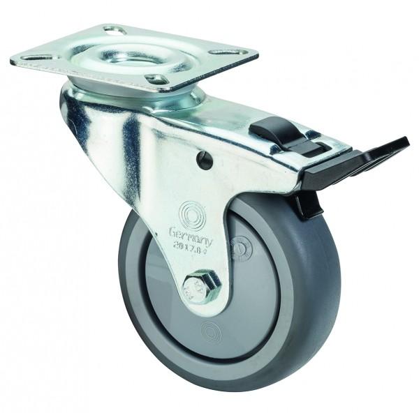 Apparaterolle Lenkrolle mit Bremse A320.A85 Plattenbefestigung Gummirad A85