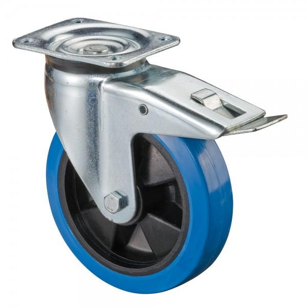 Schwerlastrolle Blue Wheel Elastikgummirad L620.B61 Lenkrolle mit Bremse