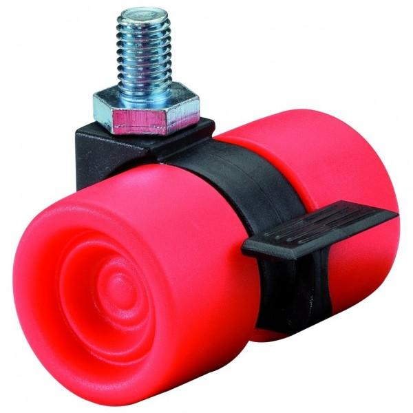 Möbelrolle Kunststoff Doppelrolle Rot F398 Gewindestift Bremse