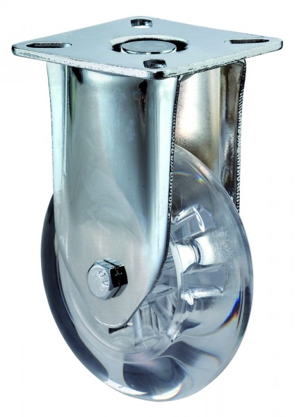 Bockrolle A410.A73 Lauffläche Kunststoff transparent Radkörper Kunststoff transparent Gleitlager BS Rollen