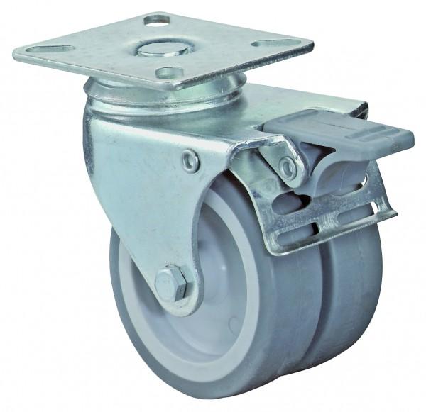 Apparatedoppelrolle B120.A80 Lenkrolle mit Bremse Gummirad A80