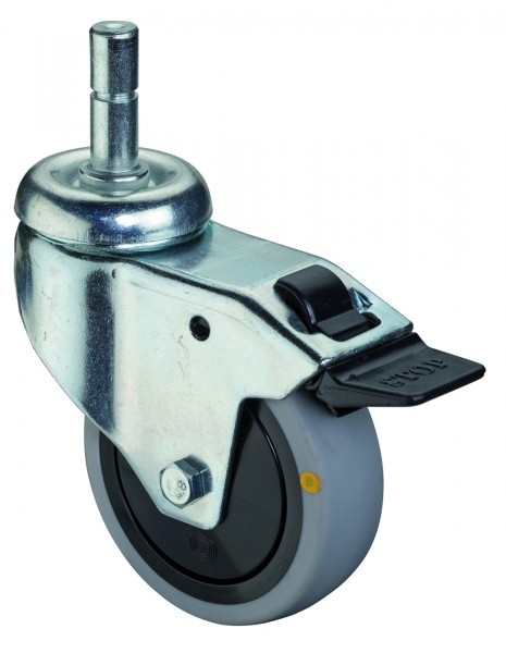 Apparaterolle Lenkrolle Feststeller Gummirad antistatisch grau Kunststoff Kugellager Einschlagstift A123.A89