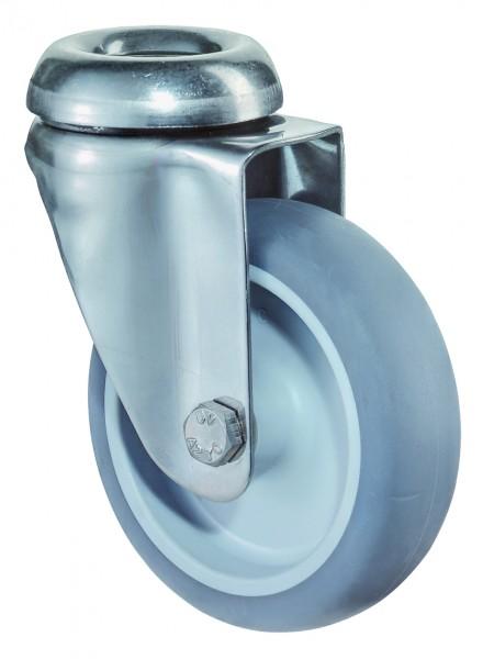 Edelstahl Apparaterolle G101.A80 Lenkrolle Gummirad A80 Rückenloch