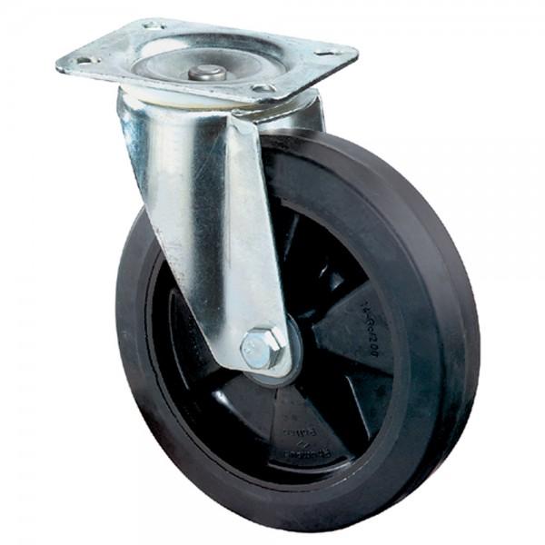 Schwerlastrollen L600.B60 Lenkrollen Vollgummiräder Elastik-Reifen schwarz Radkörper Kunststoff Rollenlager BS Rollen