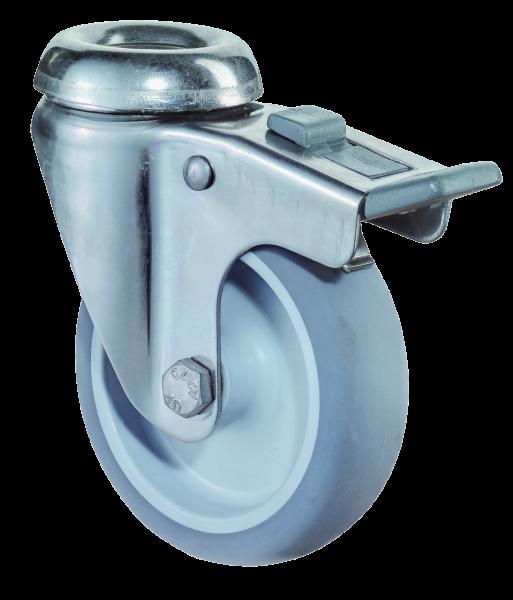 Edelstahl Apparaterolle G121.A80 Lenkrolle mit Bremse Gummirad A80 Rückenloch