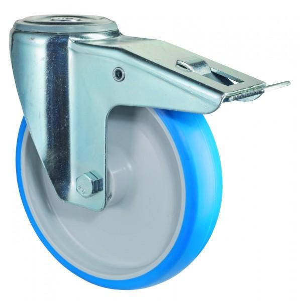 Transportrolle mit Totalfeststeller L121.B36 Lenkrolle Lauffläche Polyurethan blau Radkörper Kunststoff Rollenlager Rückenloch