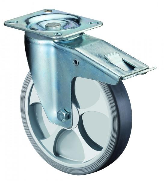 Transportrollen L420.B44 Lenkrollen mit Festeller Reifen thermoplastisch grau Radkörper Kunststoff Rollenlager BS Rollen