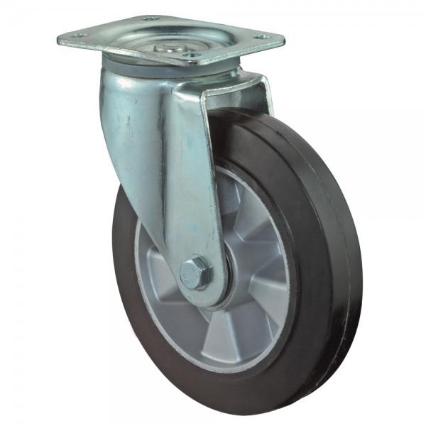 Schwerlastrolle L600.B60 Lenkrolle Vollgummirad Elastik-Reifen schwarz Radkörper Aluminium Kugellager BS Rollen