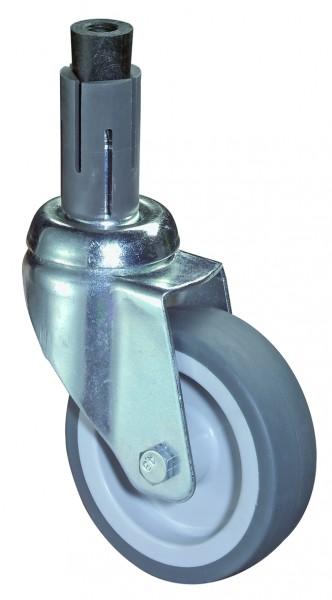 Apparaterollen A304.A80 Lauffläche Gummi grau Radkörper Kunststoff Gleitlager Expanderbefestigung BS Rollen