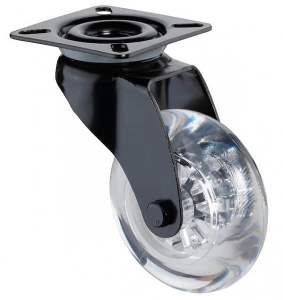 Lenkrollen mit Feststeller A820.A73 Lauffläche Kunststoff transparent Radkörper Kunststoff schwarz Gleitlager BS Rollen