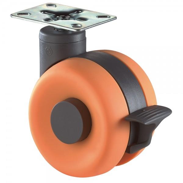 Möbelrolle Kunststoff Doppelrolle orange Bremse F366