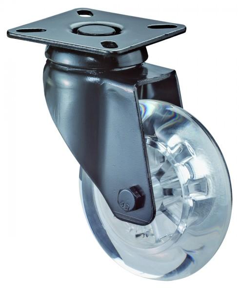 Lenkrollen A500.A73 Lauffläche Kunststoff transparent Radkörper Kunststoff transparent Gleitlager BS Rollen