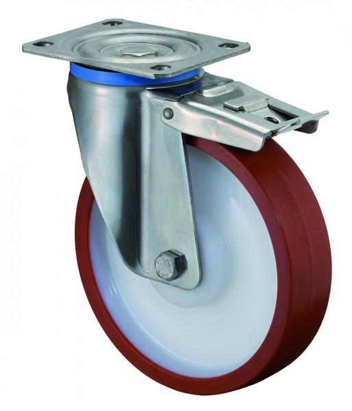 Edelstahl Schwerlastrolle mit Totalfeststeller HS120.B28 Bockrolle Lauffläche Polyurethan rot Radkörper Kunststoff Edelstahl-Rollenlager Platte Tragf. 300 - 700 kg BS Rollen