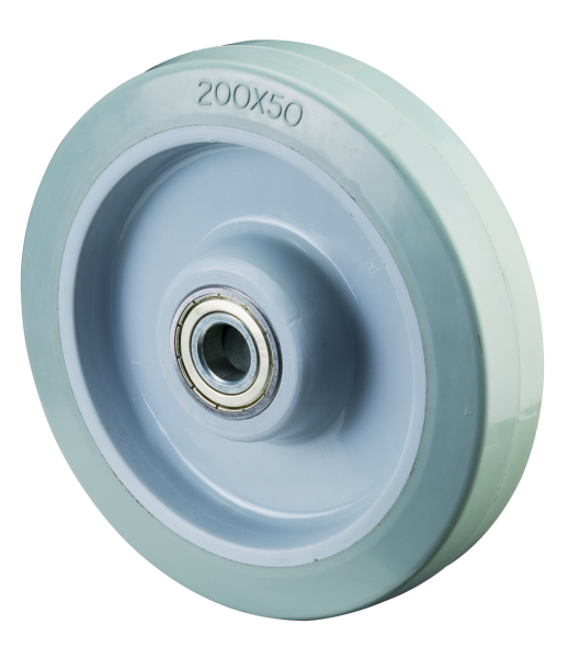 Elastik-Vollgummiräder B64 Lauffläche Elastik-Reifen grau Radkörper Kunststoff Kugellager BS Rollen