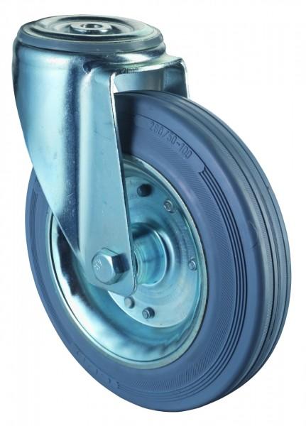 Transportrollen L101.B56, Lenkrollen Vollgummirad Lauffläche Gummi grau Radkörper Stahlfelge Rollenlager Rückenloch Tragfähigkeit 50 - 200 kg BS Rollen