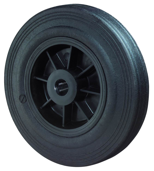 Gummirad B45 Lauffläche Gummi schwarz Radkörper Kunststoff Rollenlager BS Rollen