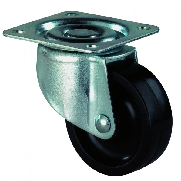 Lenkrollen F25 Möbelrollen Kunststoffrad Stahlblechgehäuse geeignet für weiche Böden BS Rollen