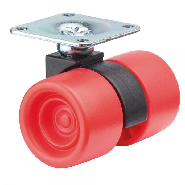 Möbelrolle Kunststoff Doppelrolle Rot F398 Plattenbefestigung