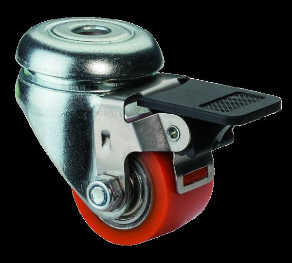 Kompaktrolle mit Totalfeststeller A601.C10 Lauffläche Polyurethan Radkörper Stahl Kugellager Rückenloch BS Rollen