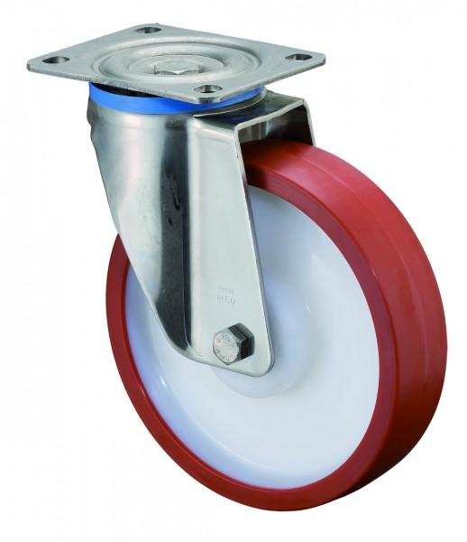Edelstahl Schwerlastrolle HS100.B28 Lenkrolle Lauffläche Polyurethan rot Radkörper Kunststoff Edelstahl-Rollenlager Plattenbefestigung Tragf. 300 - 700 kg BS Rollen