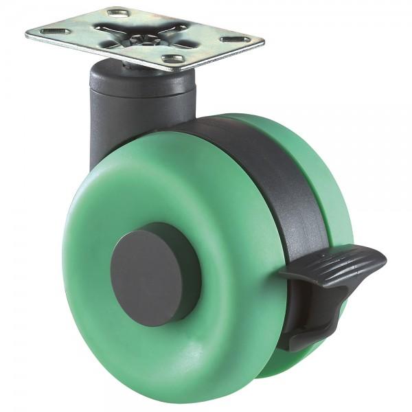 Möbelrolle Kunststoff Doppelrolle grün Feststeller F365