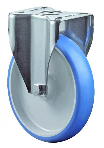 Edelstahl Transportrolle H110.B32 Bockrolle Lauffläche Polyurethan blau Radkörper Kunststoff Gleitlager Plattenbefestigung