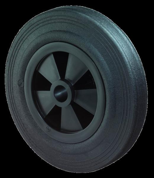 Gummiräder B40 Lauffläche Gummi schwarz Radkörper Kunststoff schwarz Gleitlager BS Rollen