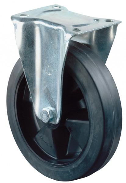 Transportrolle L410.B60 Bockrolle Vollgummirad Elastik-Reifen schwarz Radkörper Kunststoff Rollenlager Tragfähigkeit 140 - 300 kg BS Rollen