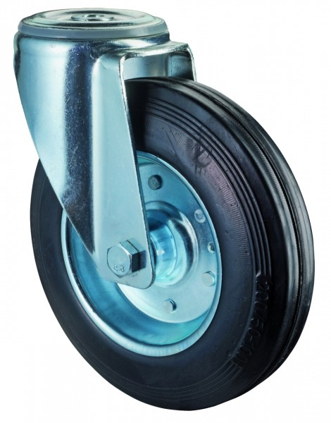 Transportrolle L101.B55 Lenkrolle Vollgummirad Lauffläche Gummi schwarz Radkörper Stahlfelge Rollenlager Rückenloch Tragf 50 - 200 kg BS Rollen
