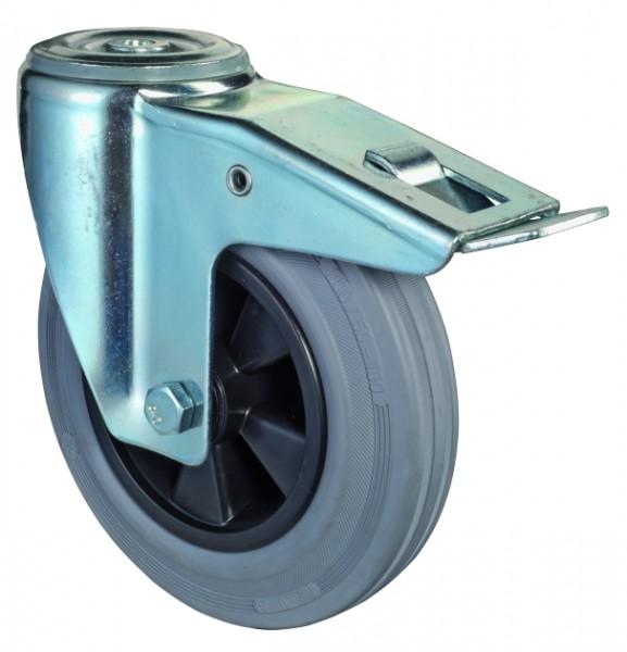 Transportrolle mit Totalfeststeller L121.B46 Lenkrollen Vollgummirad Lauffläche Gummi grau Radkörper Kunststoff Rollenlager Rückenloch Tragfähigkeit 50 - 200 kg BS Rollen