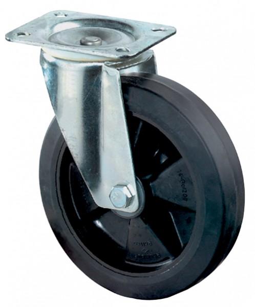 Transportrolle L400.B60 Lenkrolle Vollgummirad, Elastik-Reifen schwarz Radkörper Kunststoff Rollenlager Tragfähigkeit 140 - 300 kg BS Rollen