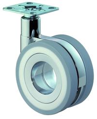 Design-Doppelrolle Plattenbefestigung F372 graue Reifen