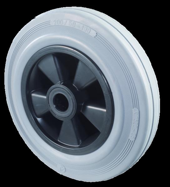 Gummirad B46 Lauffläche Gummi grau Radkörper Kunststoff Rollenlager BS Rollen
