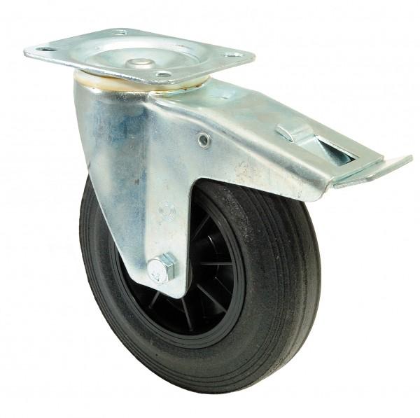 Transportrolle mit Totalfeststeller L420.B45 Lenkrolle Lauffläche Gummi schwarz Radkörper Kunststoff Rollenlager Plattenbefestigung