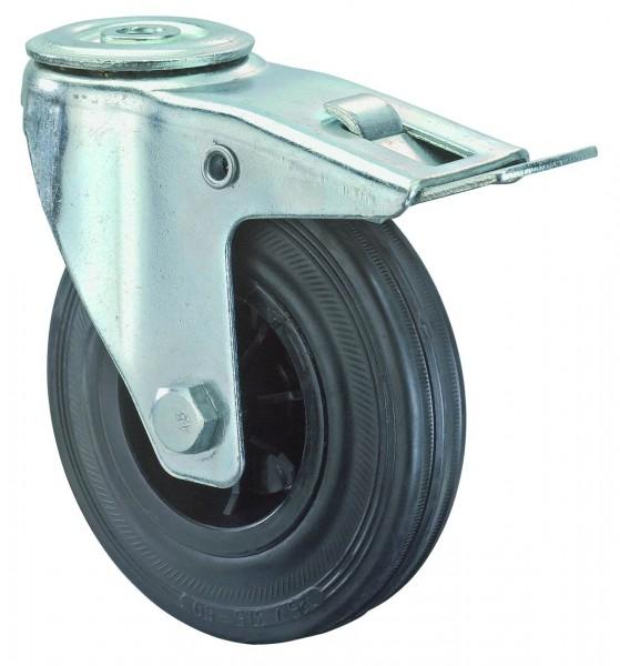 Transportrolle L121.B40 Lenkrolle Gummi schwarz Rückenloch Bremse