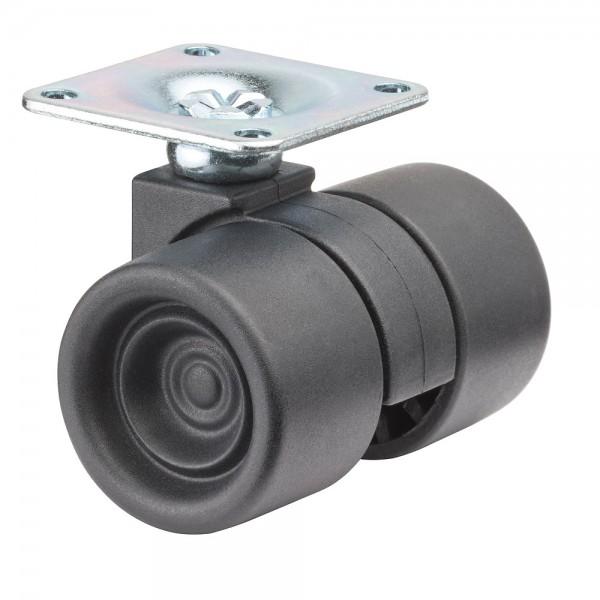 Möbelrolle Kunststoff Doppelrolle schwarz F390 Plattenbefestigung