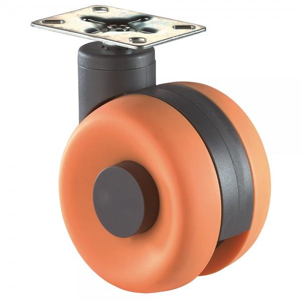 Möbelrolle Kunststoff Doppelrolle orange F366