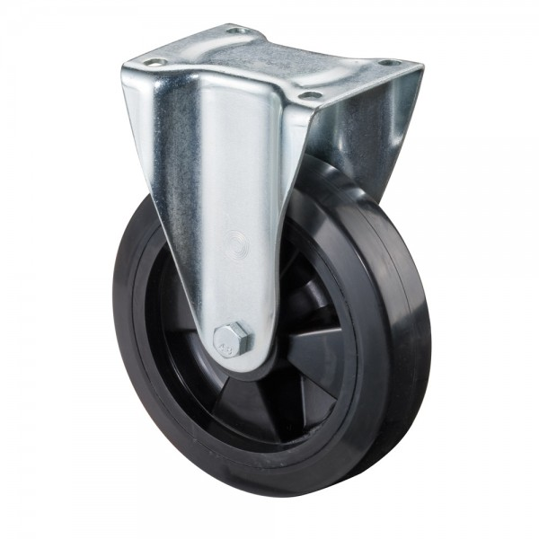 Schwerlastrolle Bockrolle Kunststofffelge Elastik-Vollgummirad N110.B60 schwere Ausführung