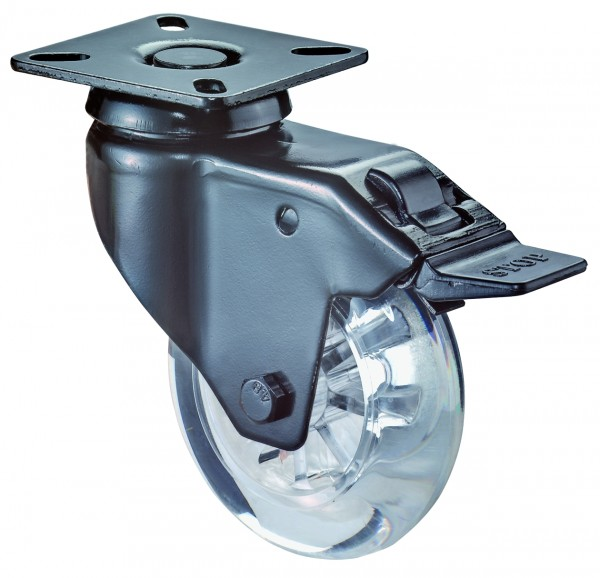 Lenkrollen mit Totalfeststeller A520.A73 Lauffläche Kunststoff transparent Radkörper Kunststoff transparent Gleitlager BS Rollen