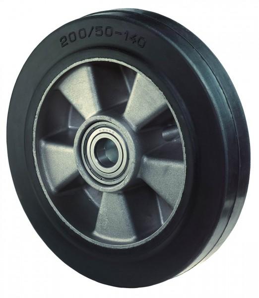 Elastik-Vollgummiräder B80 Lauffläche Elastik-Reifen schwarz Radkörper Aluminium Kugellager BS Rollen