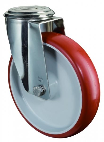 Edelstahl Transportrolle H101.B26 Lenkrolle Lauffläche Polyurethan rot Radkörper Kunststoff Gleitlager Rückenloch