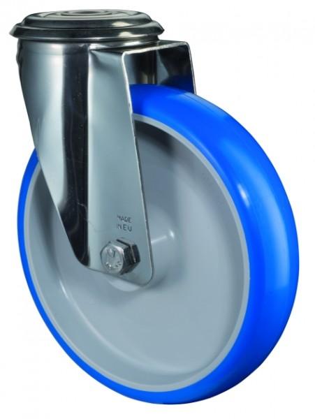 Edelstahl Transportrolle H101.B32 Lenkrolle Lauffläche Polyurethan blau Radkörper Kunststoff Gleitlager Rückenloch
